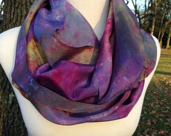 Hand Dyed Infinity Scarf - Purple infinity scarf - galaxy infinity scarf - Silk infinity scarf
