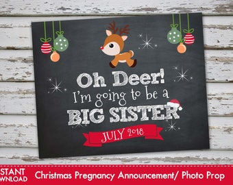 Oh Deer Im going to be a Big Sister - Christmas Pregnancy Announcement Christmas Pregnancy Photo Prop JULY 2018 DIY