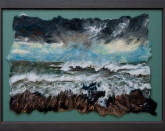 Stormy sea felted art wall decor