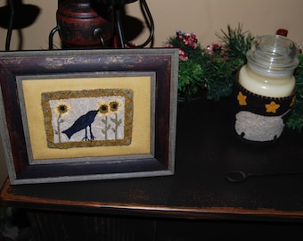 Sunflowers & Crow - Framed Primitive Punch Needle