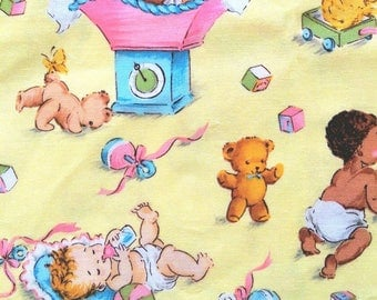Toddler Time in yellow by Michael Miller OOP VHTF  -  cotton quilting fabric by the yard