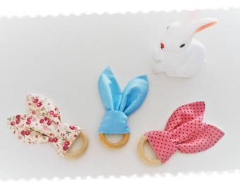 Rattle, teething ring wood and fabric bunny ears