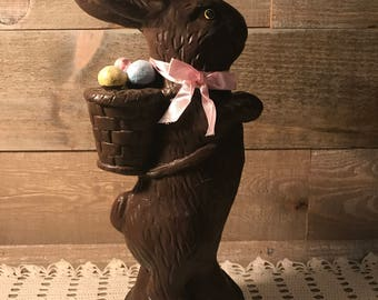 Vintage Ceramic Chocolate Bunny Easter Decor