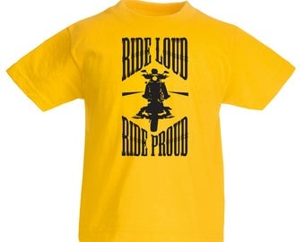 Boys Motorcycle Ride Loud Crew Neck T shirts For Kids - N4695K