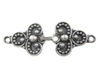 Handmade Bali 925 Oxidized Sterling Silver ornament clasp - 1 set