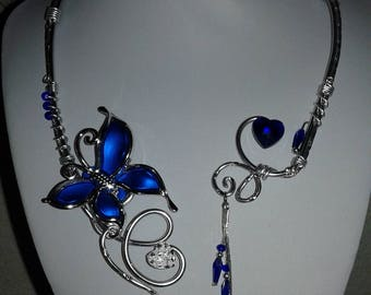 aluminum necklace and acrylic butterfly