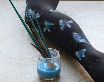Butterflies Women's Tights, Butterfly Leggings, Bllack and Blue Leggings