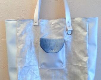 Jeans, faux silver and lin lamé Tote handbag