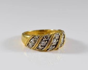 18K Yellow Gold Diamond Ring Size 6.75