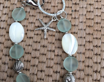 Sea glass and Mother of Pearl bracelet