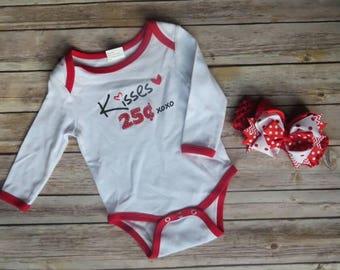 Valentine's Day Onesie & Headband | Valentine's Day Outfit | Baby Girl Valentine's Day Shirt | Valentine's Day Headband |Valentine's Day Bow