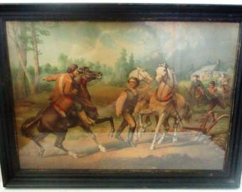 Rare Antique Paul Revere Alerting Minutemen Strobridge Lithograph Print Framed Revolutionary War Scene Minute Man Horses Chromolithograph