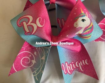 UNICORN Glitter Cheer Bow - SPARKLY Glitter Pink Blue Ombre Be Unique Unicorn Cheer Bow - Different options to choose from