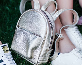 Gold leather backpack - Baby-Sport