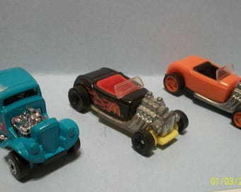 1982 Matchbox Wild Willys Turquoise and 2 1993  Mattel Hot Wheels Orange and Black Hot Rods 1/64 Diecast Cars Vintage Lot Of 3