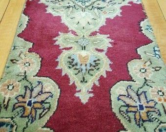 """Stunning 1960-1970s Vintage 1'2""""×3'4"""" Wool Pile,Vegy Dyes Hereke Rug"""