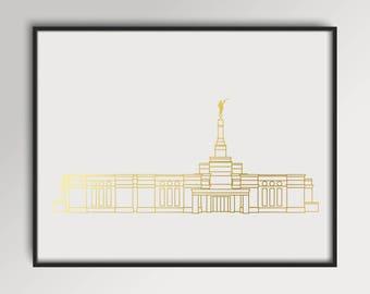 LDS Reno Nevada Temple Gold Foil Print