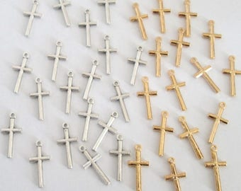 Cross Charms Pendants ~ Gold Cross Charms Silver Cross Charms ~ 17mm ~ Christian Jewelry Cross Necklace Rosary Bracelets 25 50 pieces