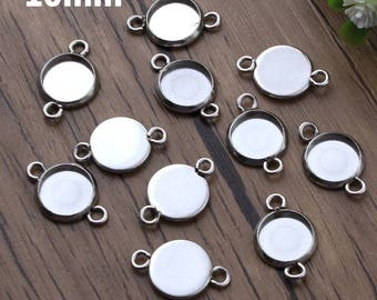 10pcs, 10mm Hypoallergenic Stainless Steel Cabochon Settings, 10 mm Cabochons Bezel, Charm Pendant Earring Blanks, Base Glue Pad Jewelry