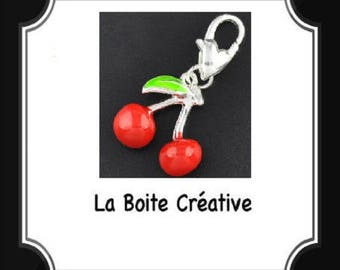 CHARM shape of cherry in in enamel EPOXY PENDANT BEAD red and silver 16 mm
