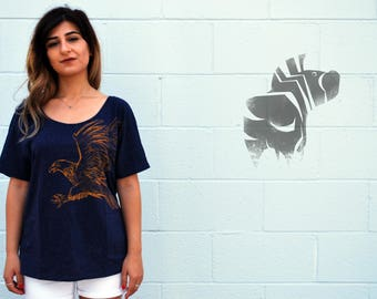 EAGLE Tee - Women's Illustration Tee - Animal Art - July 4th - Wide Neck Loose Fit T-shirt - David Colman Original