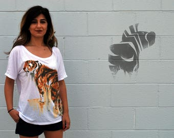 TIGER Tee - Women's Illustration Tee - Animal Art - Wide Neck Loose Fit T-shirt - David Colman Original