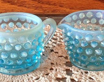 FENTON Hobnail Blue Opalescent Cream and Sugar