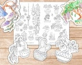 2 Printable Succulent & Bonsai Coloring Pages   Journal and Planner Insert, Coloring Sticker Printables, Hand Drawn Succulents Colouring Art