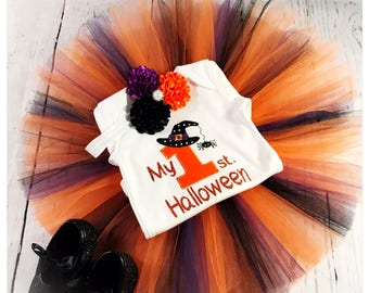My first Halloween outfit , tutu onesie and headband , baby girl Halloween outfit , Halloween costume , baby girl newborn outfit