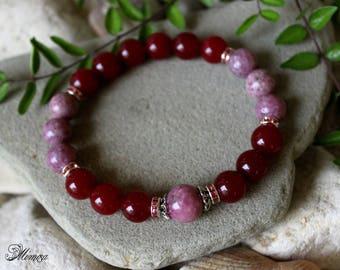 Pink Tourmaline Bracelet, Ruby Red Agate Bracelet, 10mm Agate Bracelet, 10mm Pink Tourmaline Bracelet, Chakra Healing Bracelet, Tourmaline