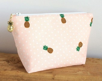 Pineapple Makeup Bag - Pineapple Gift - Small Makeup Bag - Gift For Her - Pink Bag - Beach Style - Pineapple Pouch - Pineapple Style