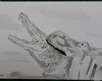 animal Hippo and alligator animal drawing ink of China and signed ink wash G.Vanspey