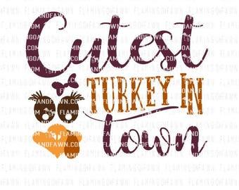 Cutest turkey svg, cutest turkey in town svg, thanksgiving svg, thanksgiving girl svg, cutest turkey dxf, turkey face shirt svg, girl turkey