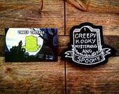 Spooky Glow Combo Pin & Patch Addams Family Inspired Creepy Kooky Mysterious Spooky Horror Geek Grave Tombstone Scary Badge