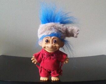 "Vintage Russ Troll Doll Daniel Boone in Coonskin Cap Pioneer Troll Blue Hair Trolls 5"""