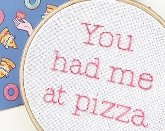 I Love You More Than Pizza Embroidery Hoop Art - Cross Stitch - Fiber Art