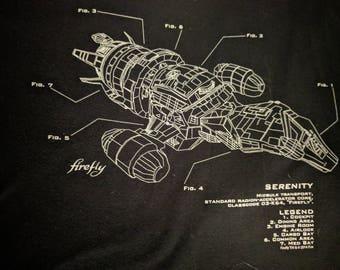 Firefly 'Serenity' Sci-Fi TV Show Black T-shirt Size L