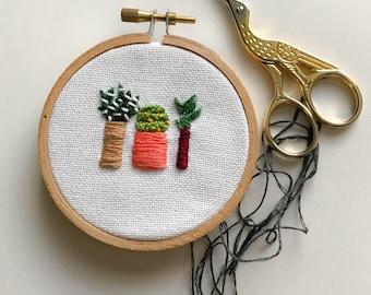aloe + cactus embroidery