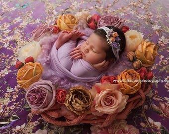 Newborn photo prop organic tieback stretch floral lilac headband baby girl outfit