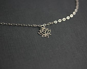 Yoga bracelet, Silver Lotus Flower Bracelet, Lotus Bracelet, Yoga Jewelry, Wish Bracelet, Bridesmaids Jewelry, Gift for Her