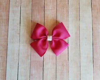Girls Bright Pink Hair Bow, Fuchsia Hair Bow, Dark Pink Bow, Girls Hair Bow, Girls Bow, Toddler Bow, Girls Hair Clip, Girls Barrette