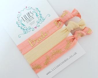 Coral bride hair ties