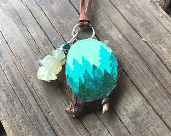 Pine tree necklace, Painted necklace, Wood necklace, Vegan jewelry