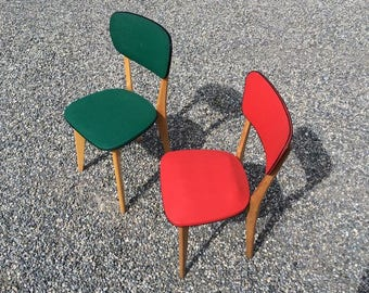 Charming Vintage French Wooden Chairs - 50's