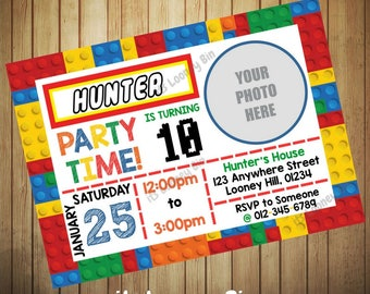 Photo Colored Building Blocks Birthday Invitation / Construction Bricks Invitation / Photo Lego Birthday Party Personalized Invite