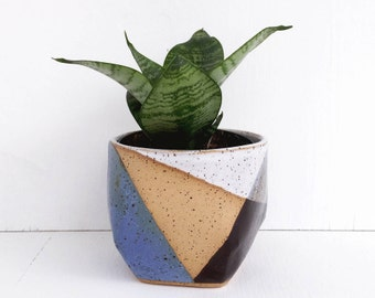 Ceramic Planter Blue and Black / Modern Succulent Pot / Pottery for Succulents, Cacti or House Plants / The Rise Planter / READY TO SHIP