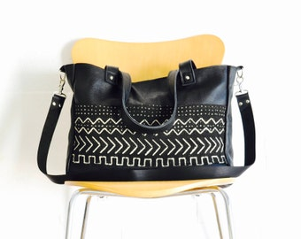 Leather Tote Bag - Large Leather bag - Weekend Travel Bag - Mothers bag - Black Leather Bag - Leather Shoulder Bag - African Mud Cloth