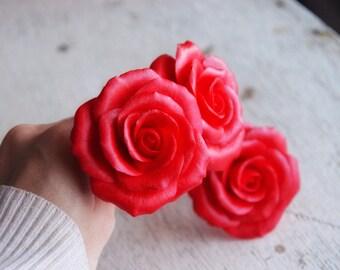 Floral hair pin, hair accessories, red rose hair pin, rose pin, hair flower, flower hair accessories, online shopping, hair fascinators