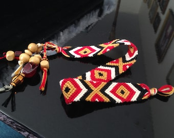 Red, Black, Gold, and White 'Friendship Bracelet'-style Bookmark with Beads