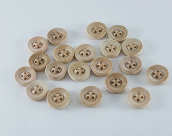 20Pcs Wooden Round Button Wooden Buttons Natural wood round buttons - Wooden Buttons - Small wood buttons - Doll Wood buttons